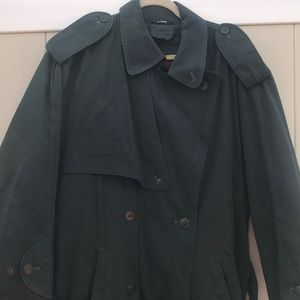 Pierre Cardin double breast trench green coat 38R